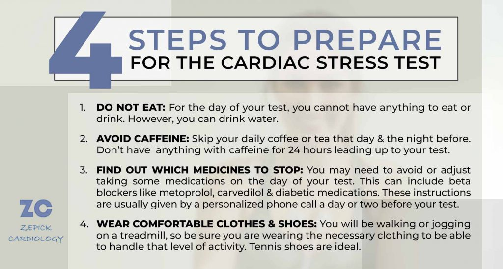 4 Steps to prepare for the cardiac stress test info-graphic - including do not eat, avoid caffeine and wear comfortable clothing