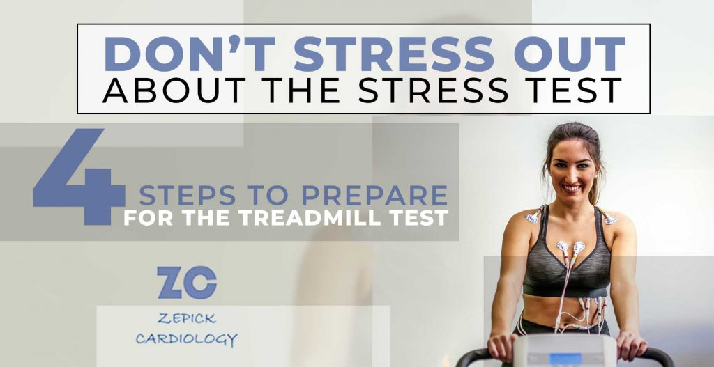 """Person on a treadmill taking a stress test with words """"Don't stress out about the Stress Test: 4 steps to prepare"""" from Zepick Cardiology in Wichita"""